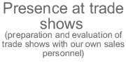 Presence at trade shows (preparation and evaluation of trade shows with our own sales personnel)